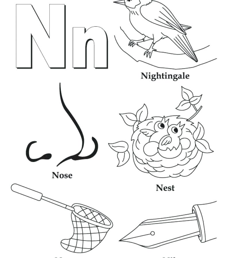 791x900 The Stylish And Stunning Letter N Coloring Page To Encourage Free