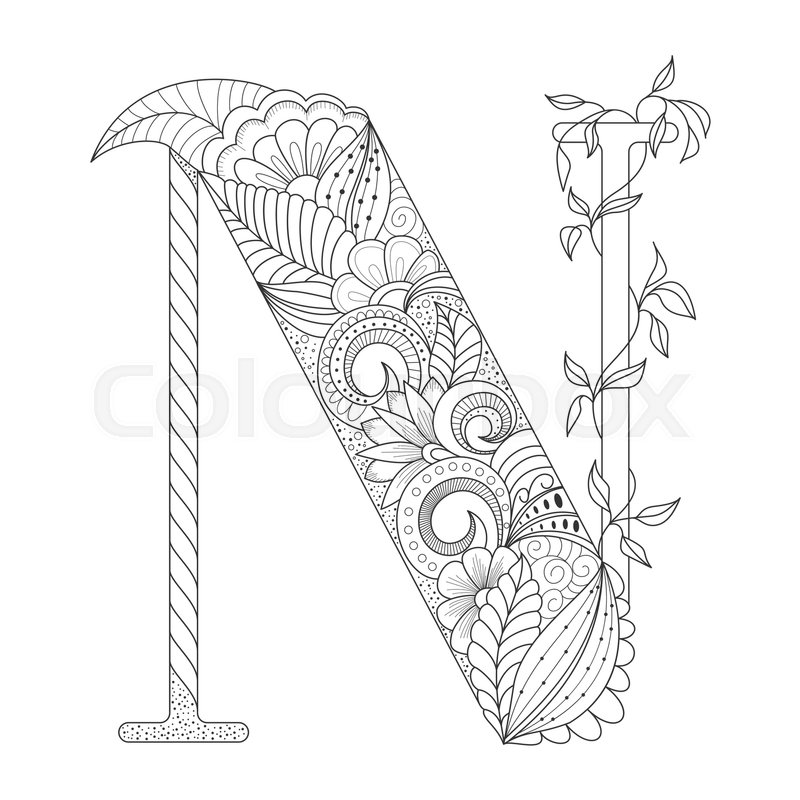 800x800 Black Line Letter N With Doodle Floral Ornament. Coloring Page