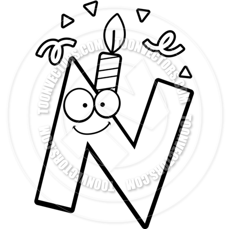460x460 Cartoon Birthday Letter N (Black And White Line Art) By Cory