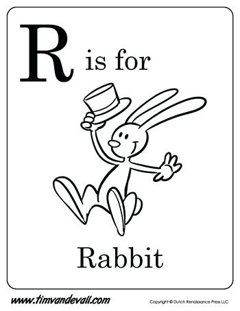 350x453 Letter R Coloring Page R Is For Rabbit Letter R Coloring Page