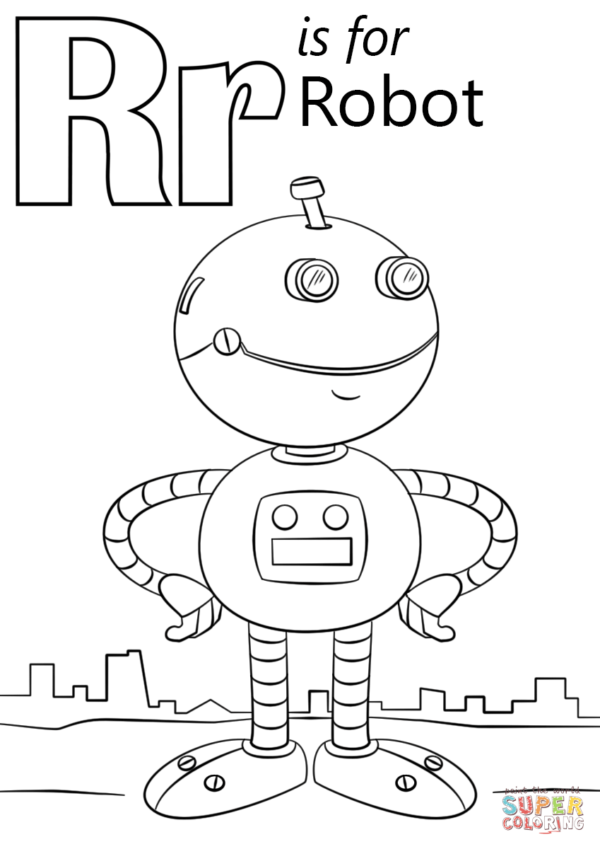 849x1200 Letter R Is For Robot Coloring Page Free Printable Coloring Pages