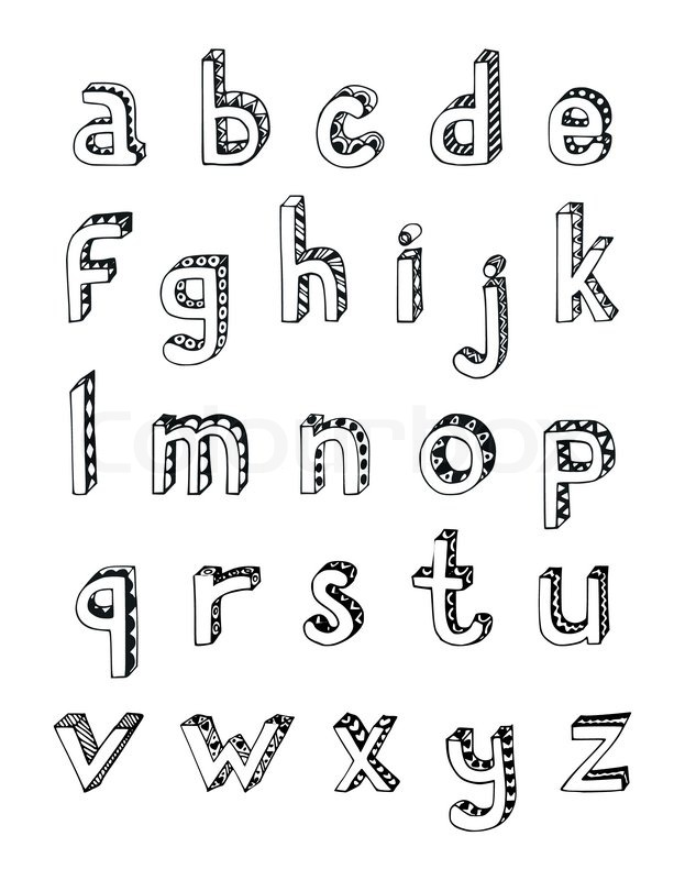 623x800 Sketch Hand Drawn 3d Alphabet Of Small Lower Case Letters Isolated