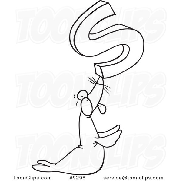581x600 Cartoon Black And White Line Drawing Of A Seal Holding Up