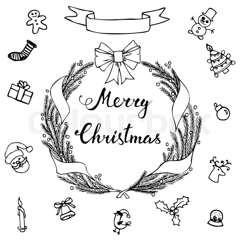 800x800 Hand Lettering Merry Christmas With Hand Drawn Christmas