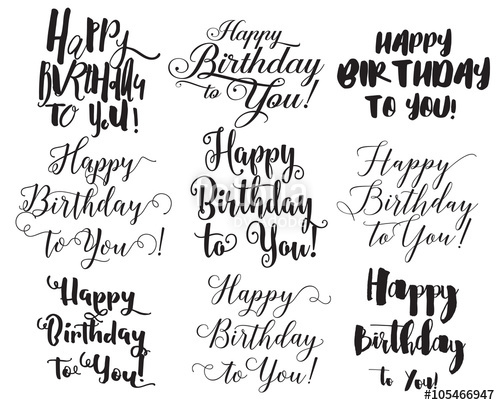 500x405 Happy Birthday To You Inscriptions Set. Hand Drawn Lettering