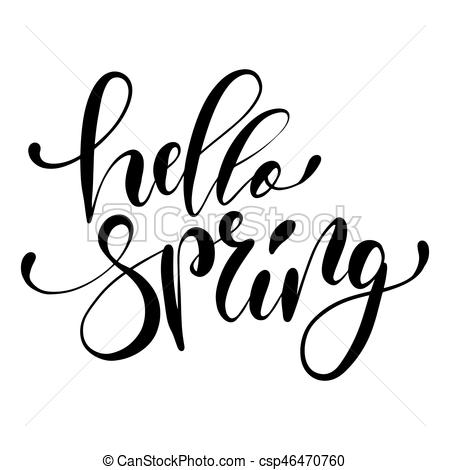 450x470 Hello Spring Hand Drawn Lettering Design Isolated On A White