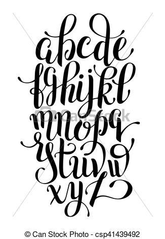 326x470 Black And White Hand Lettering Alphabet Design, Handwritten Eps