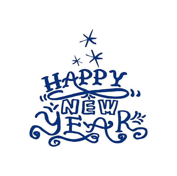 600x596 Blue Evergreen With Happy New Year Phrase. Lettering. Drawing By