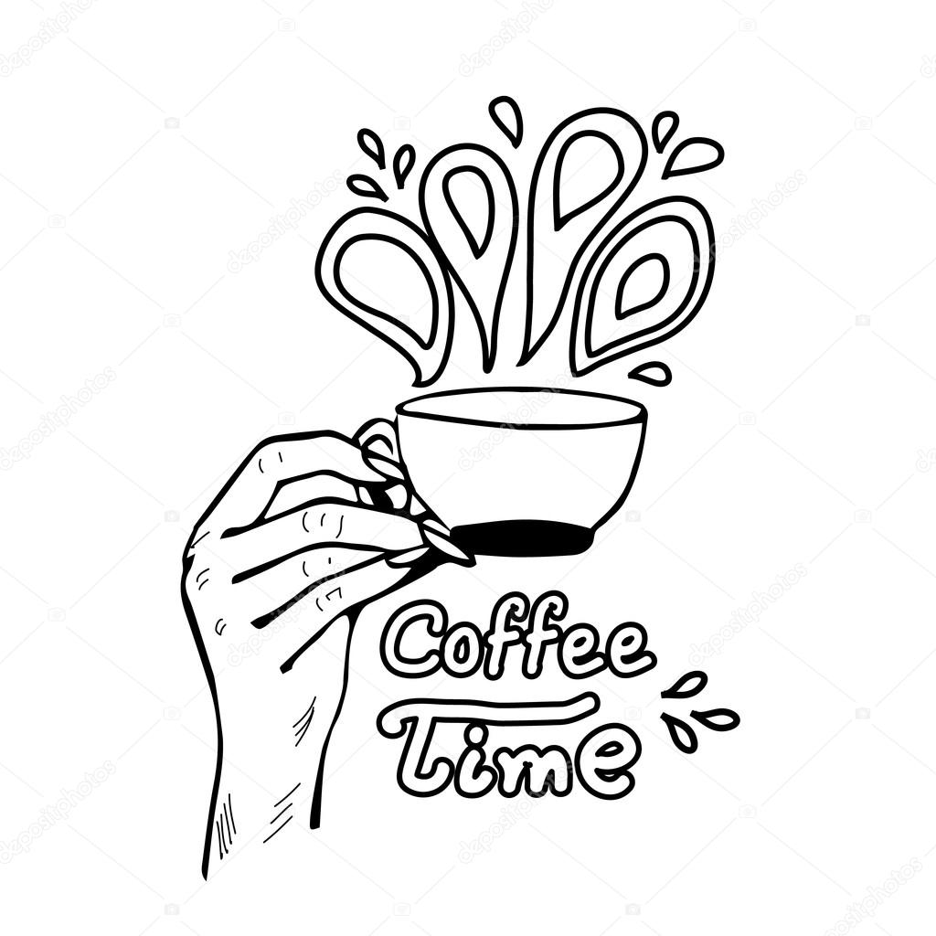 1024x1024 Coffee Time Lettering With Woman's Hand Takes Cup Of Coffee. Hand