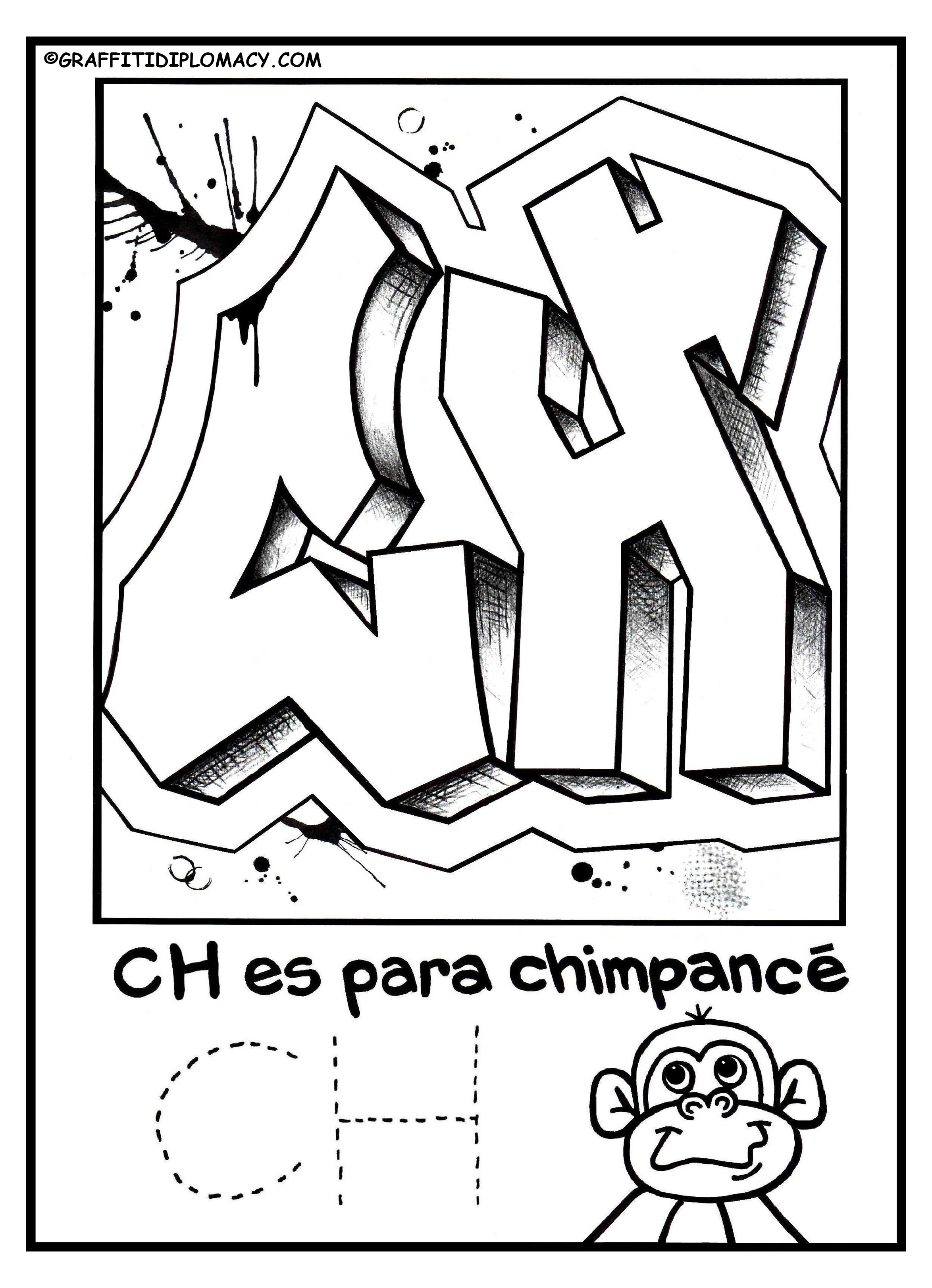 2348x3245 Fun To Color Graffiti Letters To Help Kids Learn The Spanish