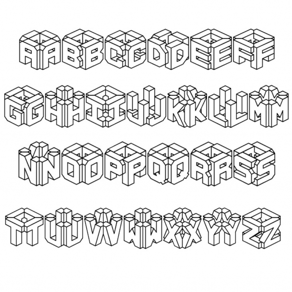 1024x1024 How To Draw The Alphabet In 3d Letters