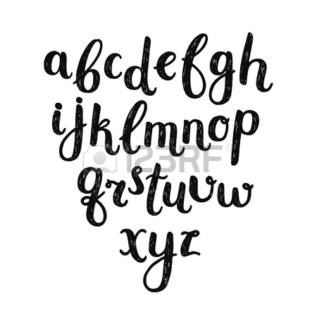 450x450 Vector Hand Drawn Alphabet With Vintage Letters On White