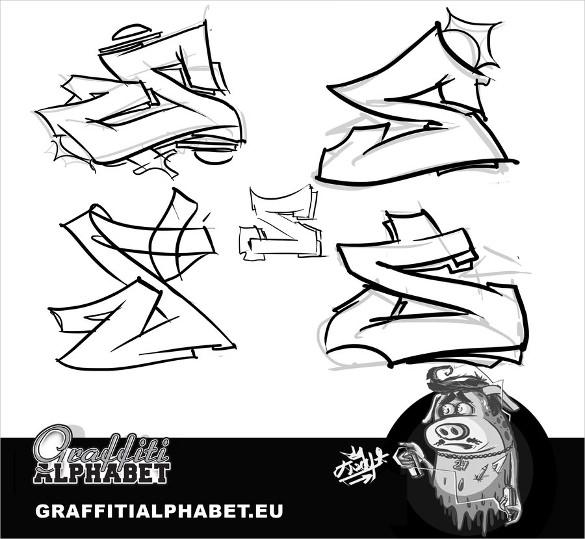 585x539 Graffiti Alphabet Letter Template Free Psd, Eps, Format