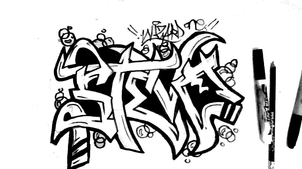 1280x720 How To Draw Graffiti Name Steve