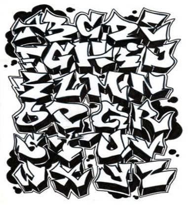 Letters of the alphabet in graffiti drawing at getdrawings 381x420 graffiti font i love letters pinterest graffiti font thecheapjerseys Image collections