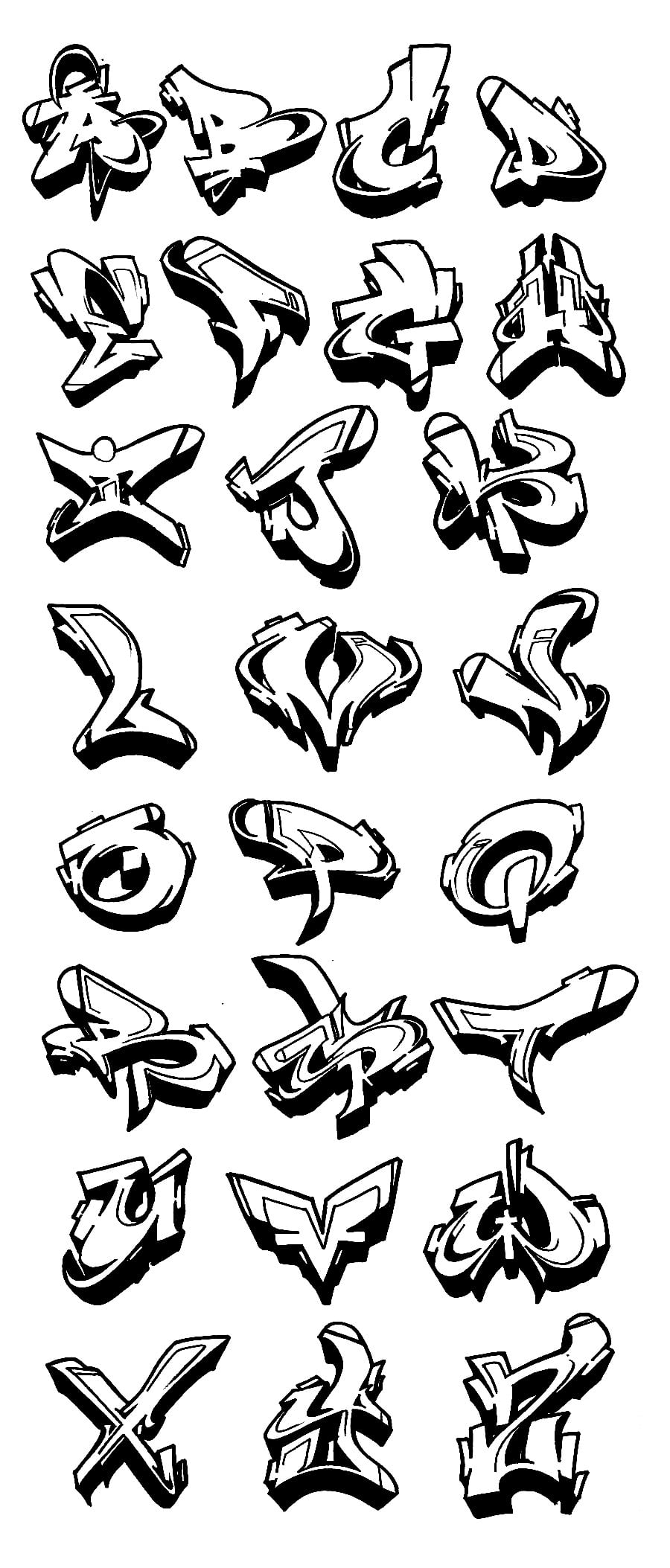 900x2107 Cool Easy To Draw Graffiti Letters Alphabet Grafitti On Pinterest