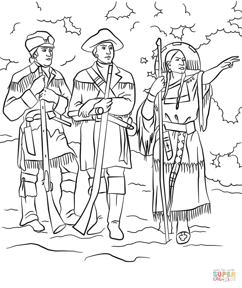 824x979 Sacagawea With Lewis And Clark Coloring Page Free Printable