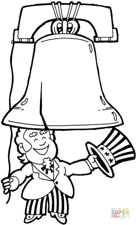 435x719 Uncle Sam And Liberty Bell Coloring Page Free Printable Coloring
