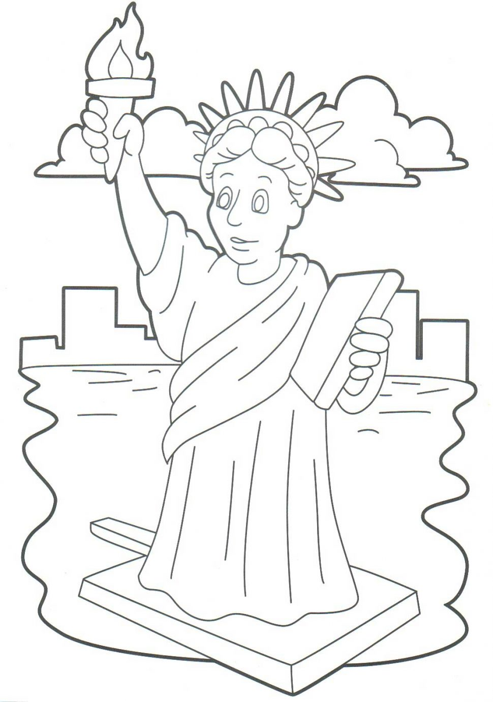 970x1381 Statue Of Liberty Drawing Outline Free Download Clip Coloring