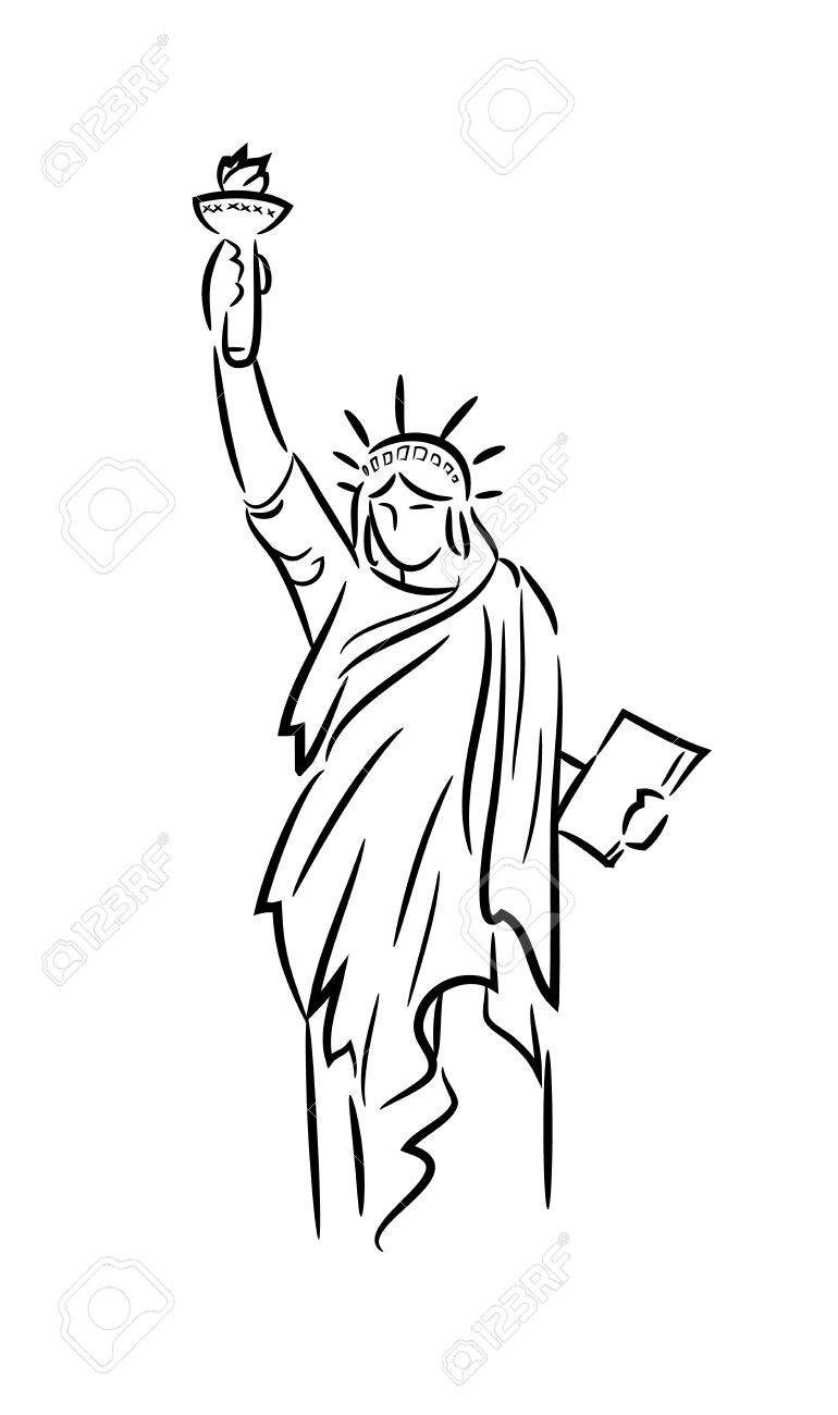 770x1300 Statue Liberty Line Art, A Hand Drawn Vector Line Art