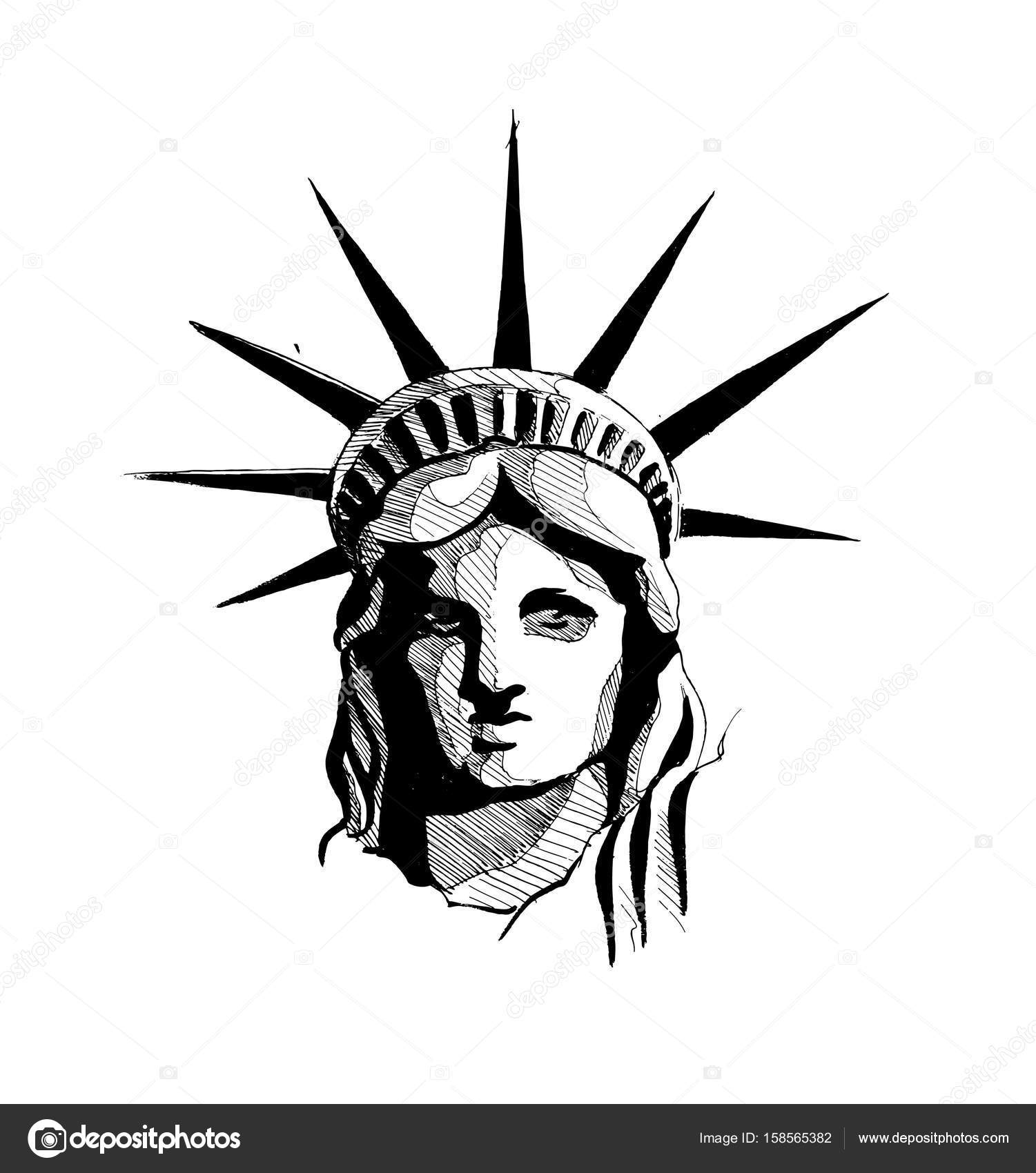 1501x1700 Statue Of Liberty, Hand Drawn Sketch Vector Illustration. Stock