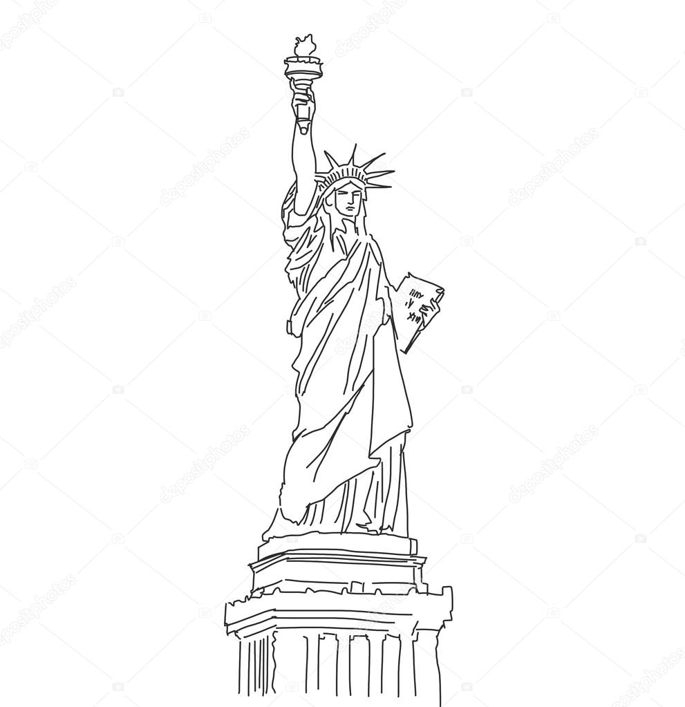 991x1023 Statue Of Liberty, Hand Drawn Vector Outline Scribble Stock