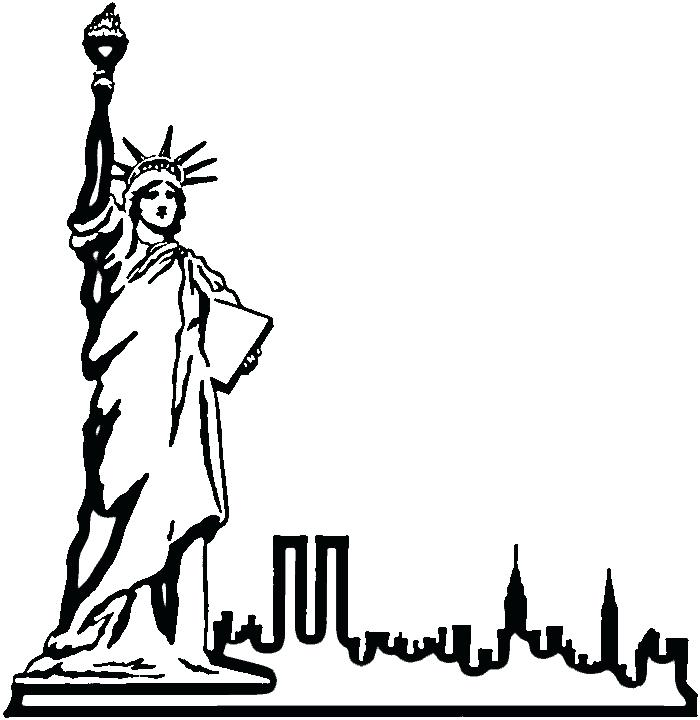 700x720 Awesome Statue Of Liberty Coloring Page Print Pages Drawn Outline