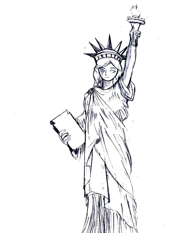 600x776 Statue Of Liberty Drawing For Coloring