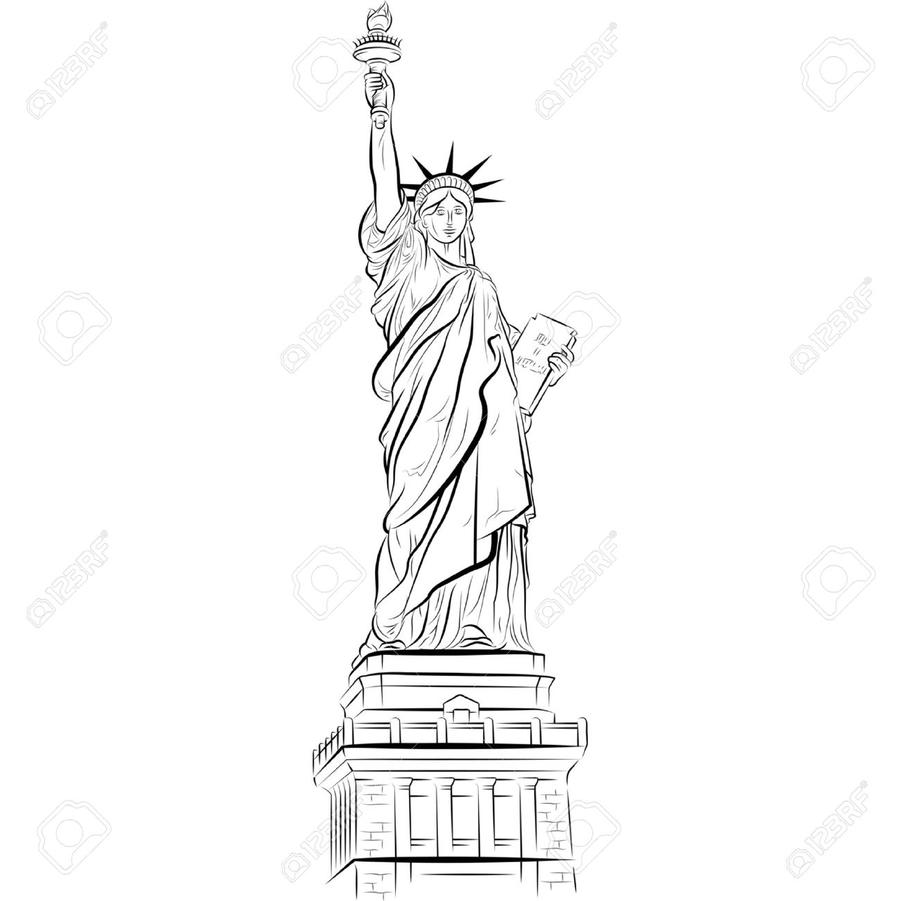 1300x1300 Drawing Statue Of Liberty In New York, Usa. Vector Illustration