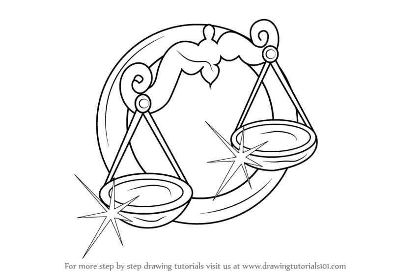 800x566 Learn How To Draw A Libra Zodiac Sign (Zodiac Signs) Step By Step