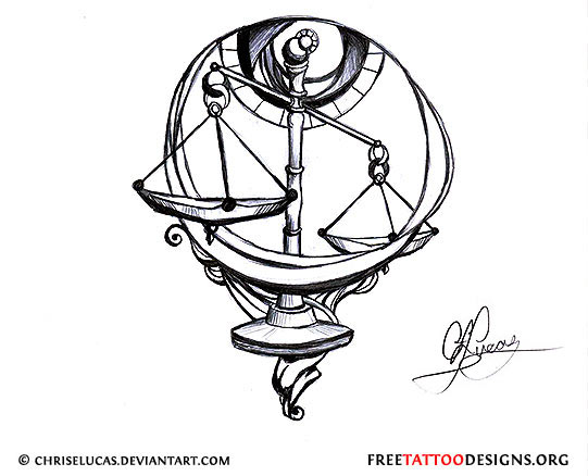 541x438 Libra Scales Tattoo Design Librasunscorpiorising