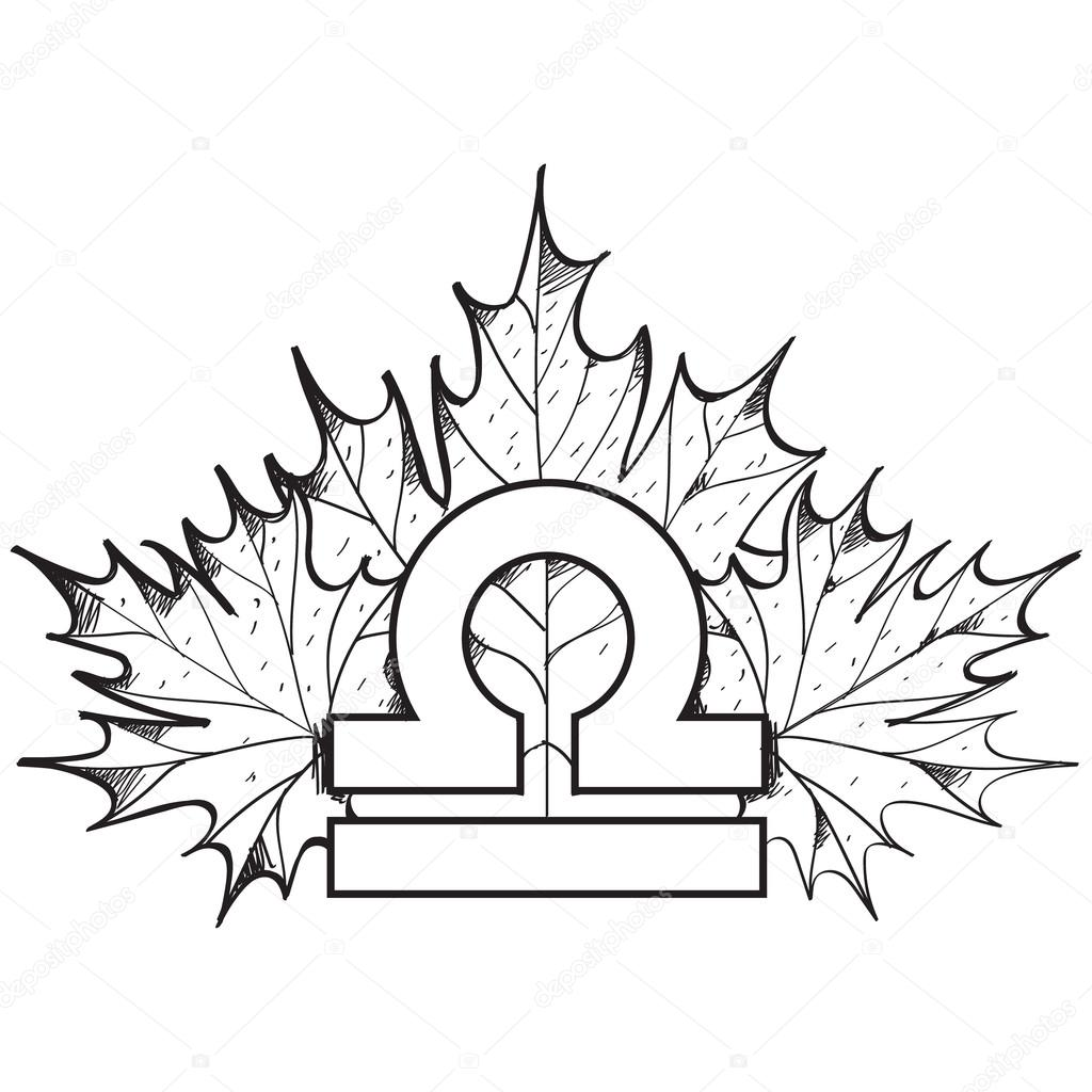 1024x1024 Libra Zodiac Sign On A Background Of Maple Leaves Outline Drawing