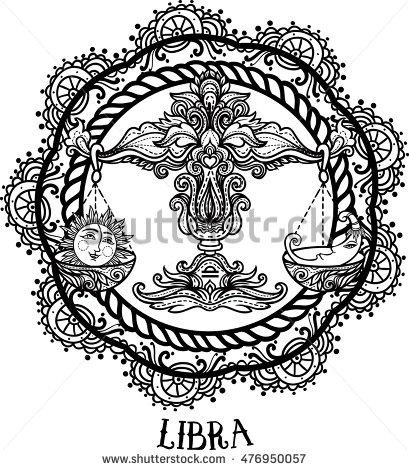 409x470 Detailed Libra In Aztec Filigree Line Art Zentangle Style. Tattoo