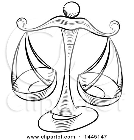 450x470 Clipart Of Sketched Black And White Astrology Zodiac Libra Scales