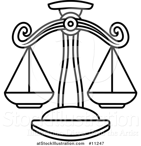 600x620 Vector Illustration Of A Black And White Lineart Libra Scales