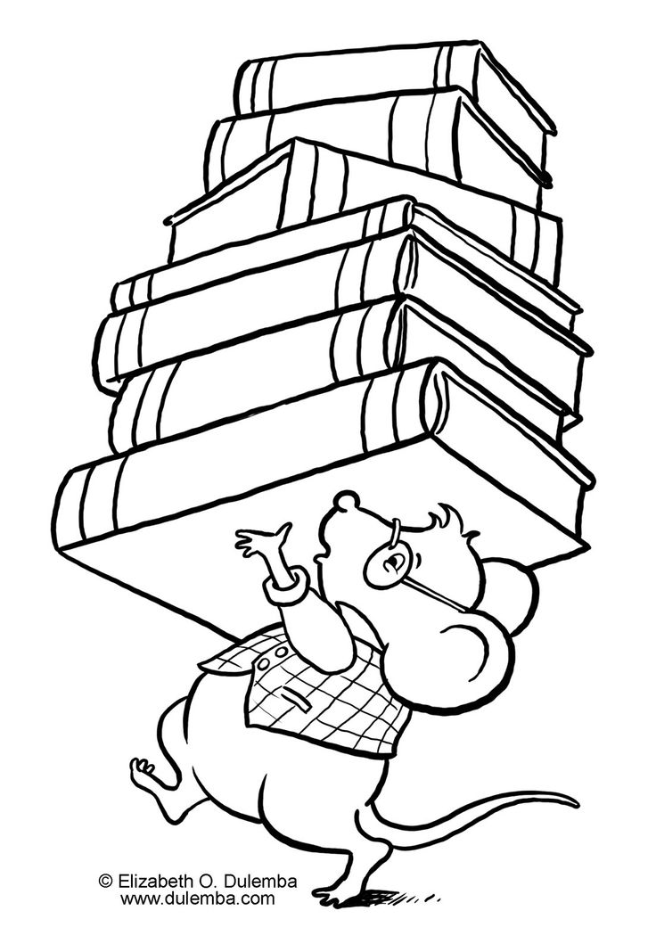 Library Books Drawing