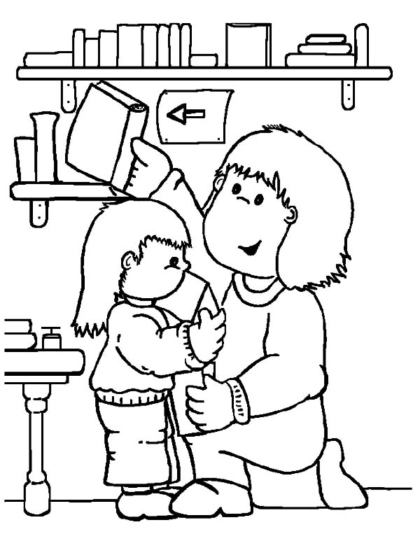 600x783 Library Fall Coloring Pages For