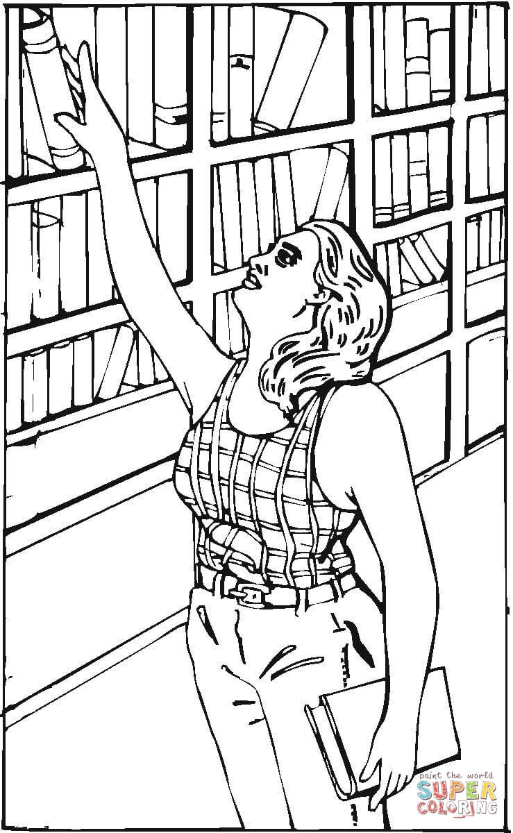 739x1200 Reaching For A Book In The Library Coloring Page Free Printable