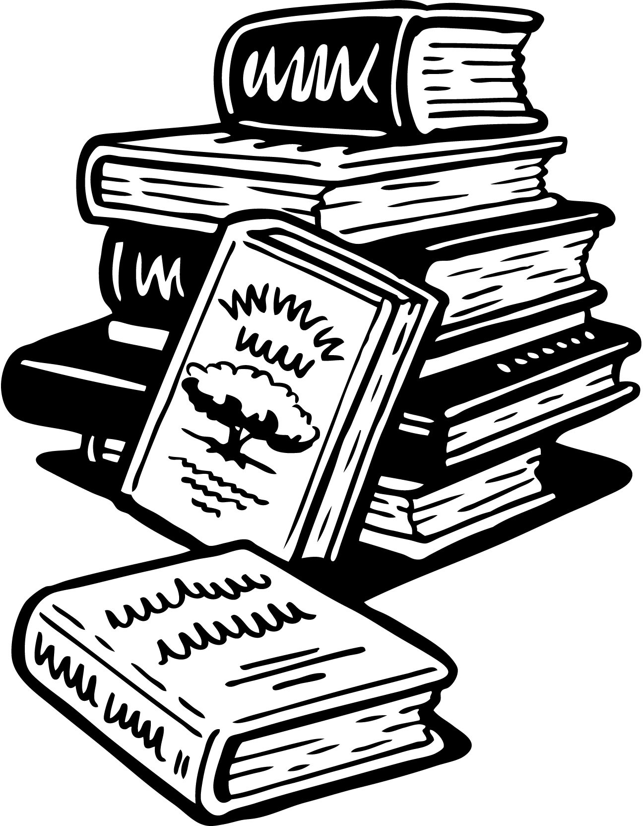 1296x1663 Cartoon Stack Of Books Group