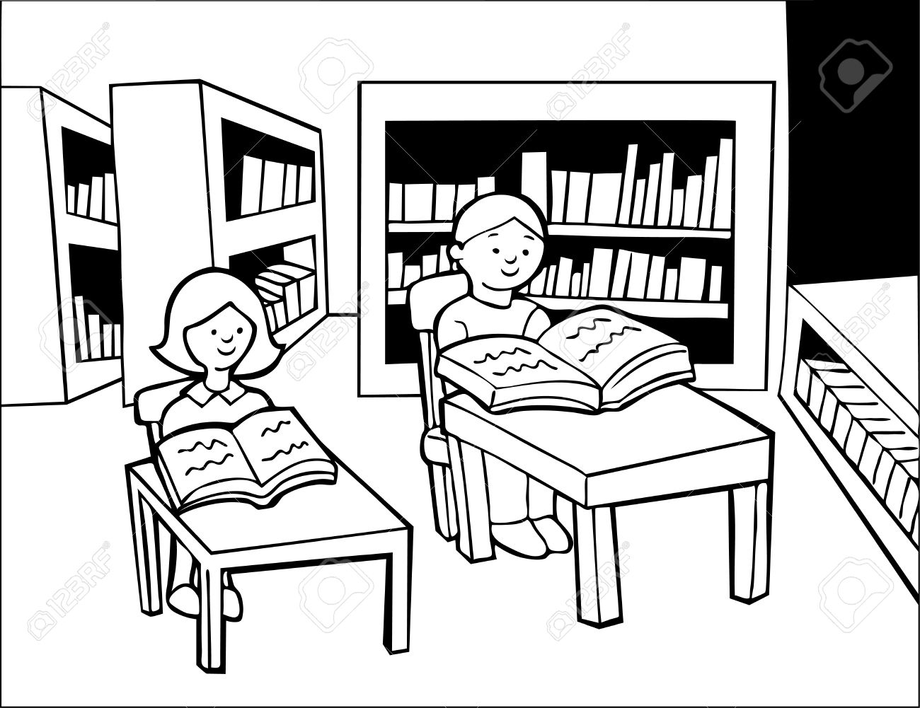 1300x1001 Children Library Reading Line Art Boy And Girl Sitting At Desks