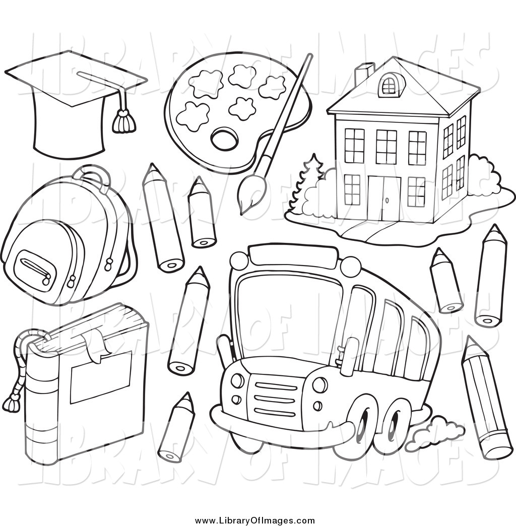 1024x1044 Clip Art Of Black And White School Items A Bus And Building By