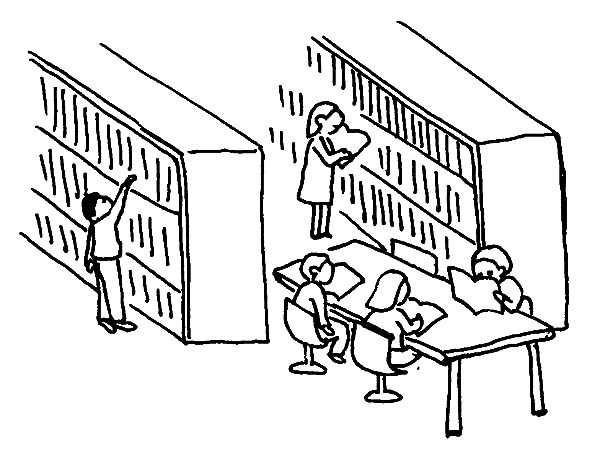600x471 Drawing Library Activity Coloring Pages
