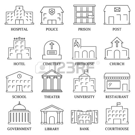 450x450 Government Building Icons Set Of Police Library Theater Isolated
