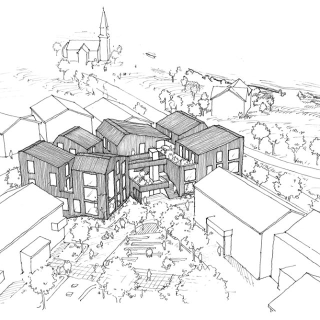 640x640 Sketch. Competition Sketch For A New Library, Bank And Housing