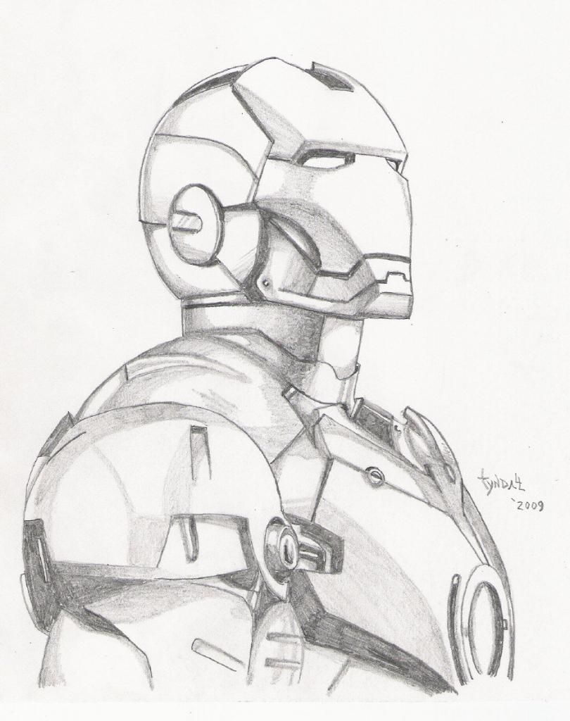 810x1024 Iron Man Pencil Drawing