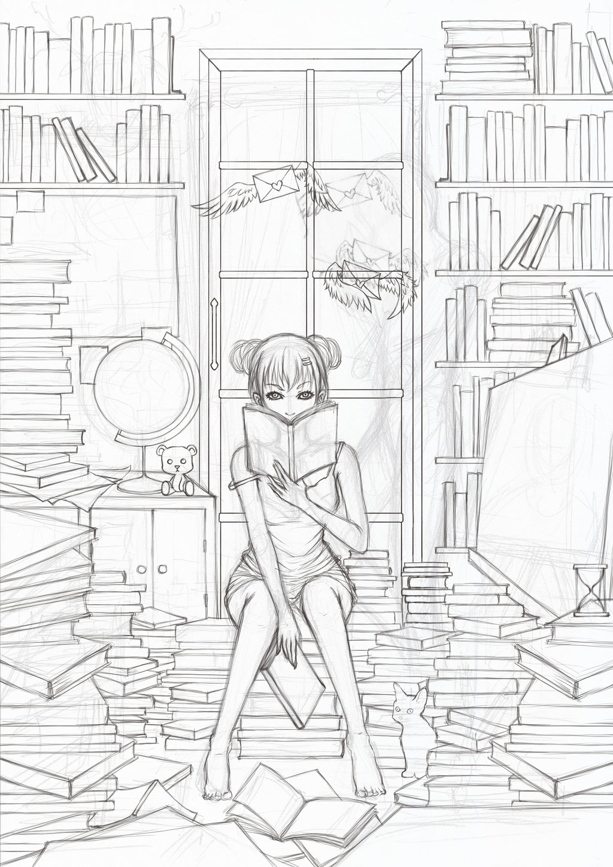1024x1448 Library Room (Draw) By Seerdarker