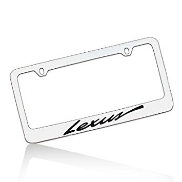 355x355 Lexus Script Chrome Brass License Plate Frame