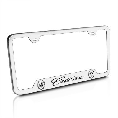 400x400 Cadillac Logo Brushed Stainless Steel License Plate