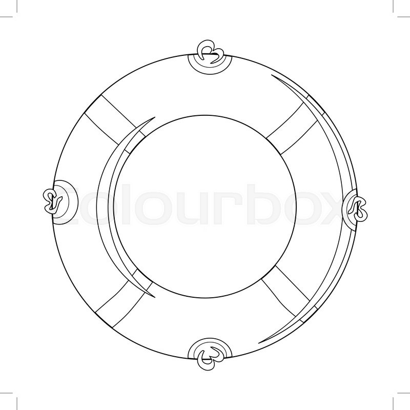 800x800 Outline Illustration Of Life Buoy Stock Vector Colourbox