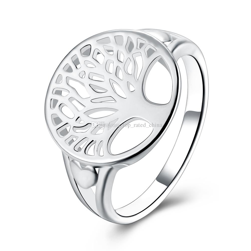 1001x1001 Fashion Tree Of Life Silver Ring Hollow Life Tree Heart Rings
